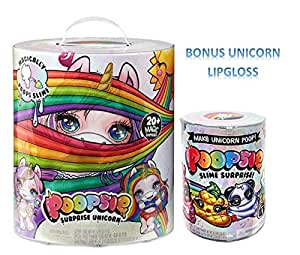 Toy Girls Plush HOT Seller (1) Poopsie Slime Surprise (1) Unicorn Surprise Slime, (1) Unicorn Lipgloss Bundle of 3 A