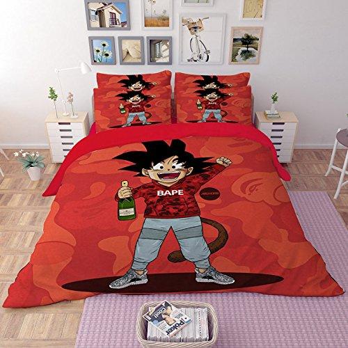 Dragonball Z Power Single//Double Panel Duvet Cover Bed Set Goku Cartoon Kids Bed