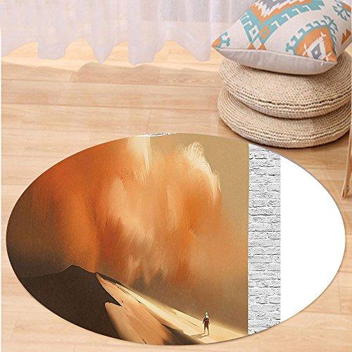 Custom Storm Shadow Costumes (Kisscase Custom carpetFantasy Art House Decor Shadow Man Walking through Sand Storm in Desert Hiking Wind Hot Image for Bedroom Living Room Dorm Cream)