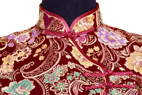 7Fairy Women's Vtg Burgundy Ten Buttons Long Chinese Dress Cheongsam Size 12 US by 7Fairy (Image #2)