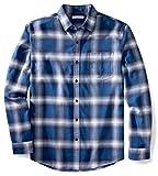 Amazon Essentials Men's Regular-Fit Long-Sleeve Plaid Flannel Shirt, Blue Ombre Plaid, Large