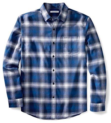 Amazon Essentials Mens Regular-Fit Long-Sleeve Plaid Flannel Shirt, Blue Ombre Plaid, Large