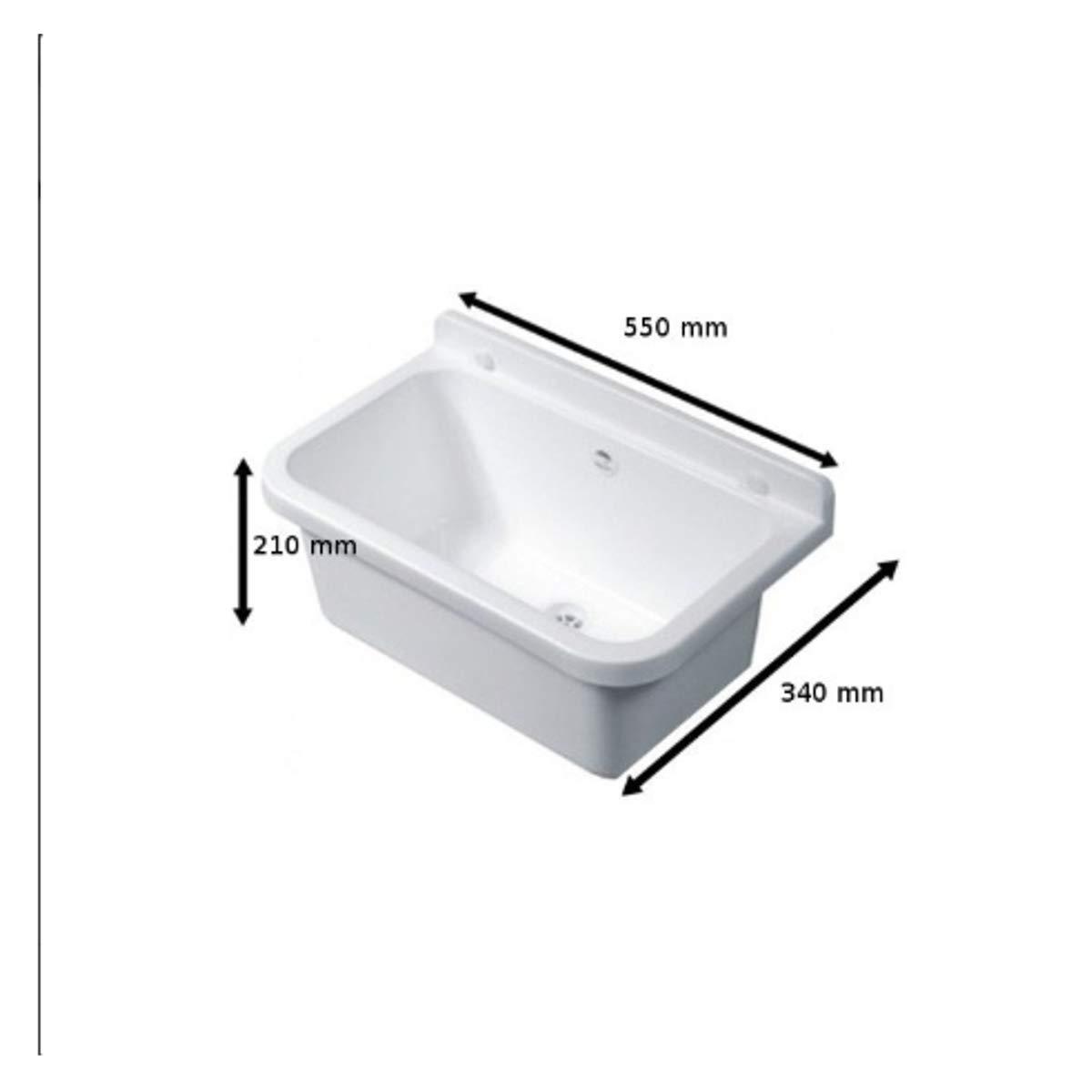 Ablaufgranitur Waschbecken Ausgussbecken mit Armatur 55 cm x 34 cm x 21 cm Sp/ülbecken Waschtrog mit /Überlauf Waschbecken f/ür Gewerbe Waschraum Garten inkl