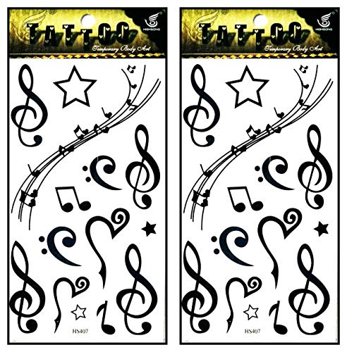 Tattoos 2 Sheets Black Music Notes Stars Temporary Tattoos Stickers Fake Body Arm Chest Shoulder Tattoos for Teens Men Women