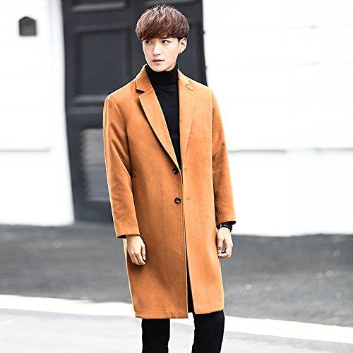 Mediados de abrigo largo, una cara hombre abrigo largo, estilo coreano abrigo, el otoño y el invierno largo impermeable,Orange,4XL