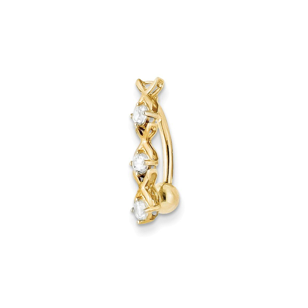 10k Yellow Gold With Cz Xoxo Belly Dangle