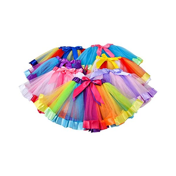 Rainbow Tutu Skirt, Layered Dance Ballet Skirt, Little Princess Kids Skirt, for Toddler Girls Dress Up with Unicorn Headband 7