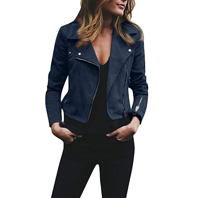 HOSOME Women Zipper Jacket Ladies Retro Rivet Up Bomber Casual Coat Outwear Tops Blue