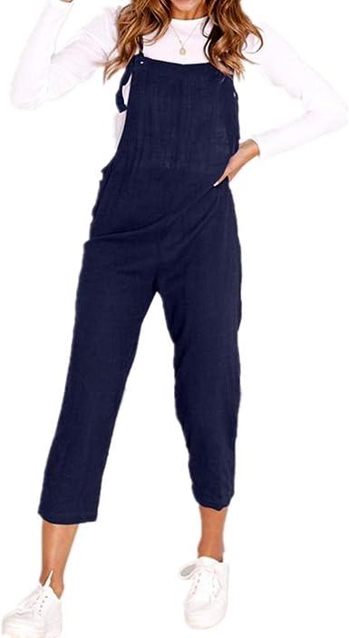 Petos de Pantalones Elegante Algodón Casual para Mujer, Morbuy Verano Mono Moda Overoles Jumpsuit Tirantes Playa Fiesta Oficina Pantalón: Amazon.es: Ropa y accesorios