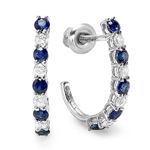 10k White Gold Round White Diamonds & Blue Sapphire Ladies Fancy J Shaped Hoop Earrings (White Earrings Fancy Sapphire)