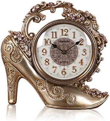 デスク時計ヨーロッパのリビングルームの寝室のデスクトップの装飾ノンティックファッションブロンズ振り子時計 (Color : A)