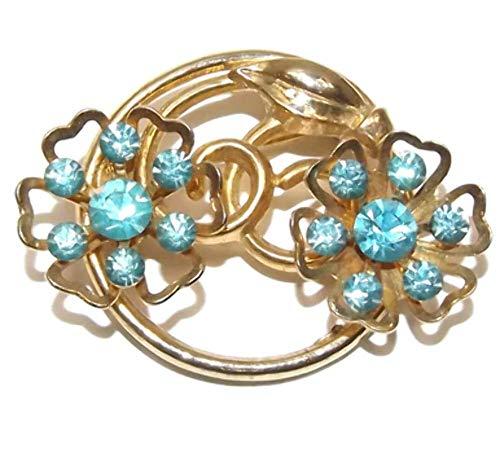 (Vintage Signed Coro Gold Tone Brooch w/Pierced Flowers & Blue)