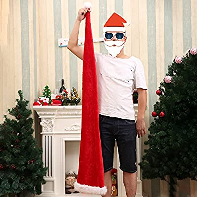 Gigamax(TM) Christmas Party Santa Claus Long Hat Velvet Red White Cap Costume Xmas Adult Children Xmas Long Style Hats Christmas Supplies
