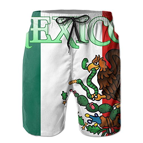Xexe150-y5 Mexican Flag Men's Summer Surf Swim Trunks Beach Shorts Pants Quick Dry with Pockets