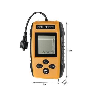Huiit Buscador de Peces portátil Detectores de Profundidad de Mano Sonda Transductor Cableado Pesca Sonar Fishfinder: Amazon.es: Deportes y aire libre