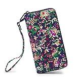 LIKEWE Women National Style Zip Around Clutch Wallet Large Travel Purse (FB-Flower-HD)