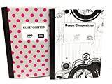 Gray & Pink PolkaDot/ Black & White Graph 5x5 Notebook ~ Pack of 2