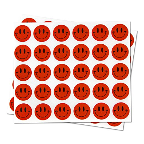 Happy Face Smiley Face Labels Round Self Adhesive Circle Stickers (Red Black / .5) - 300 labels per package