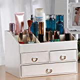 Zxwzzz Leather Cosmetic Storage Box, 3 Drawers Cosmetic Case, Palette Brush Base Lipstick Nail Polish Hair Clip, 11.8 X 7.9 Inches (Color : White)