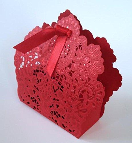 Amazon 10 Pcs Beautiful Red Crochet Lace Wedding Favors Favour