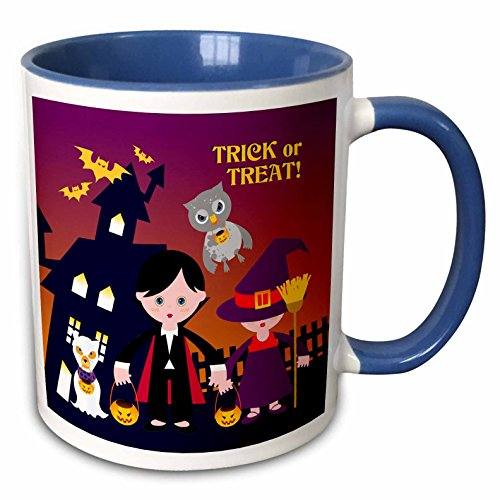 3dRose Belinha Fernandes - Halloween Celebration - Trick or treat message and dog ghost with kids dressed up in dracula and witch costumes - 15oz Two-Tone Blue Mug -