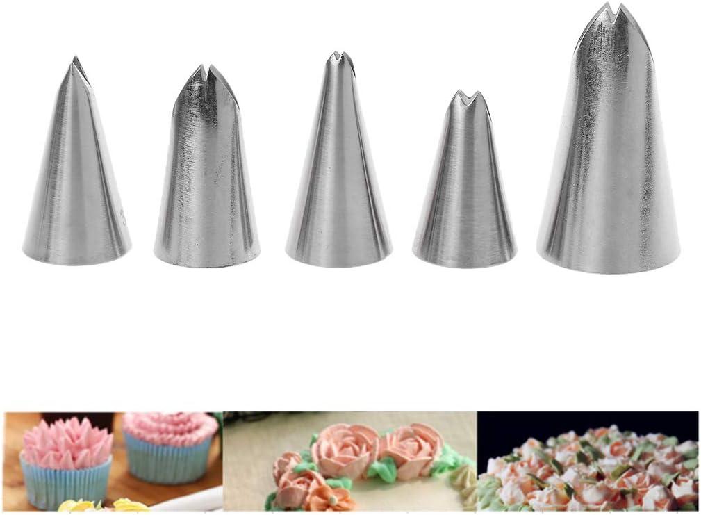 Set di beccucci a Forma di Foglie in Acciaio Inox 5 Pezzi Biscotti glassa e glassa YFairy per Decorare Torte Ugelli per Crema