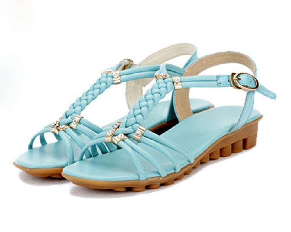 Fischkopf hochhackigen Sandalen Casual Sandalen mit weichen Sohlen Schuhe Sommer Sandalen und Pantoffeln sky blue