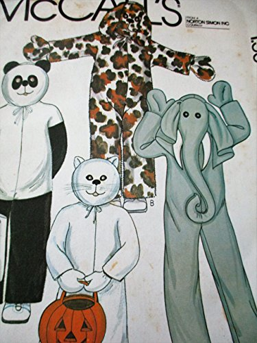McCalls 6809 EX-Small Pattern for Halloween Costumes Bear, Leopard, Cat, Elephant -