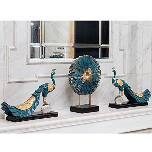 Home Decoration, Hand-Painted Resin Crafts Peacock Ornaments Sculpture Living Room Decorations Nordic Decorative Wine Cabinet Home (Color : 5) by None (Image #8)
