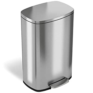 iTouchless SoftStep 13 Gallon Step Trash Can with Odor Filter & Inner Bucket, Stainless Steel Step Pedal Garbage Bin for Office and Kitchen, 50 Liter, Soft and Quiet Lid Close