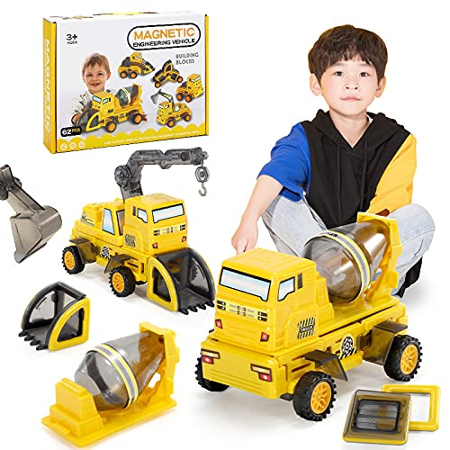 Construction Toys Set with Mixer,Shovel,Hooker,62 PCS Magnetic Blocks Take Apart Construction Truck Toys, Toddler Toys for 3 4 5 6 Years Old Boys & Girls