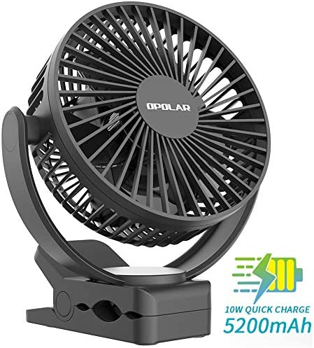 2019 New 5200mAh Portable Rechargeable Battery Operated Clip On Fan, USB 2A Fast Charging, Super Quiet, Portable Travel Clamp for Outdoor Golf Cart Camping Tent Beach or Personal Office Desk Treadmill