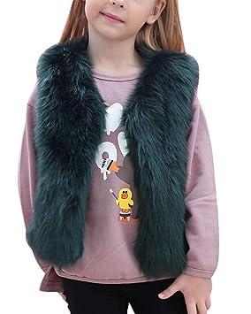 Oudan Chaquetas de Chaquetas de Piel sintética para niñas pequeñas Abrigos Gruesos Ropa Interior Gruesa esponjosa por 3-8 años (Color : Verde Oscuro, ...