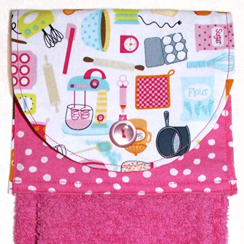 Hot Pink Hanging Hand Towel - Retro Tools & Mixers Print With Fuschia Plush Towel ()