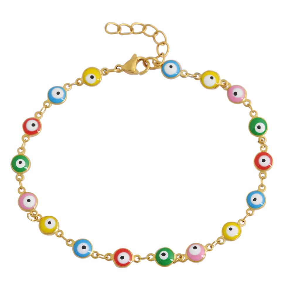 Edforce 18k Gold Plated Multi-Colored Yellow Blue Red Green Pink Evil Eye Anklet, 9''+ 1.25'' Extender