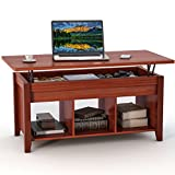 Tribesigns Lift Top Coffee Table with Hidden Storage and Lower Shelf for Living Room (Rosewood)
