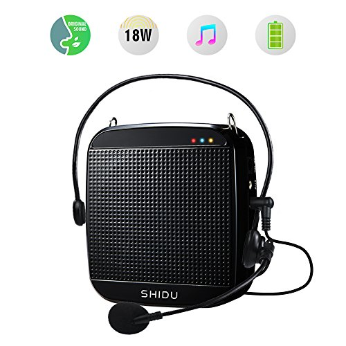 Portable Voice Amplifier 18W,SHIDU Mini Voice Amplifier with Wired Microphone Headset Rechargeable Portable Microphone and Speaker PA System for Teachers,Singing,Classroom,Tour Guide,Elderly,Yoga