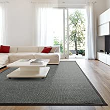 iCustomRug Zara Contemporary Synthetic Sisal Rug, Softer Than Natural Sisal Rug, Stain Resistant & Easy To Clean. Beautiful Border Rug in Charcoal 7 Feet 10 Inches x 10 Feet (8' x 10')