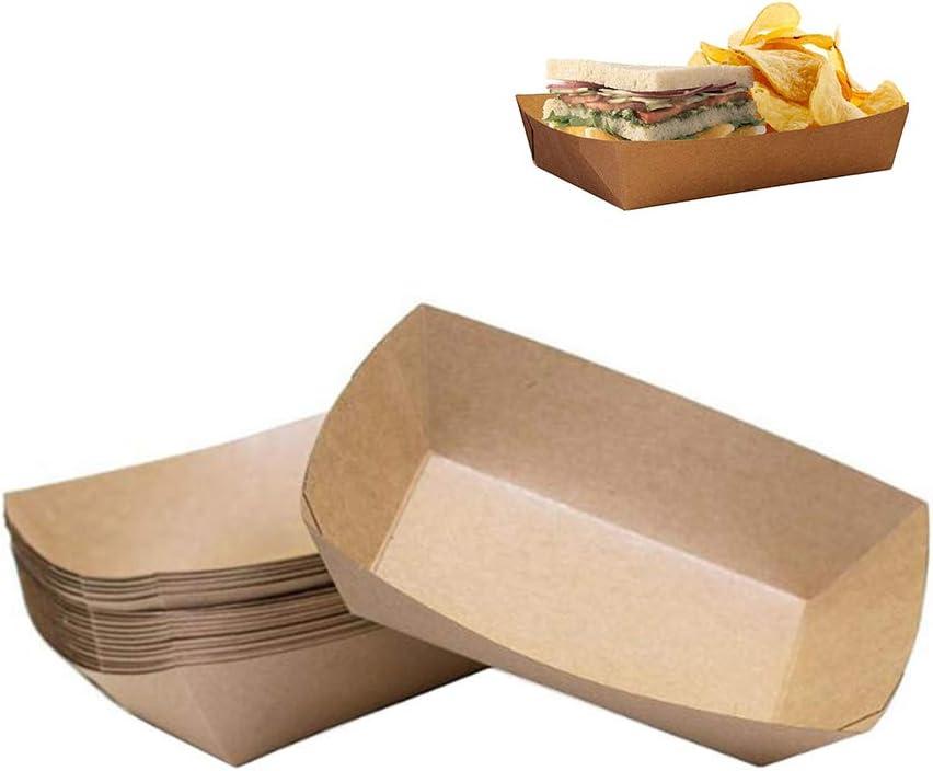 Fablcrew - Lote de 10 cajas de cartón desechables de papel kraft en forma de barco para galletas, ensaladas, aperitivos, hamburguesas, salchichas: Amazon.es: Hogar