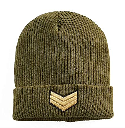 Amazon.com   Mudd Womens Military Patch Army Green Beanie Cap ... d0ef74c478c