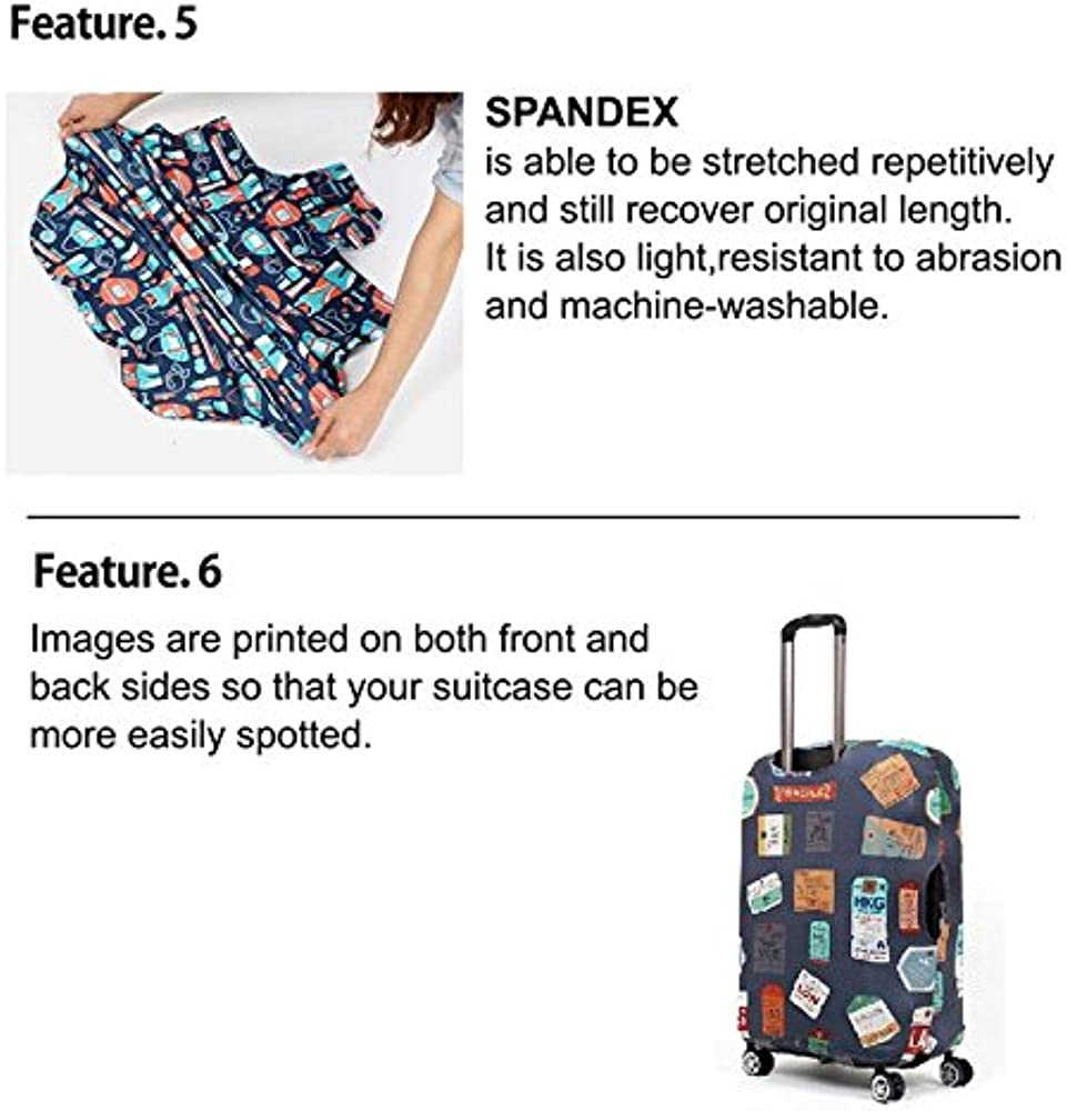 Trolley case Suitcase Cover Non-Slip Wear-Resistant Waterproof Four Seasons Available Spandex Suitcase Protector Fits 24-42 Inch Elastic Stretchy/—Dinosaur Cat Size : XL