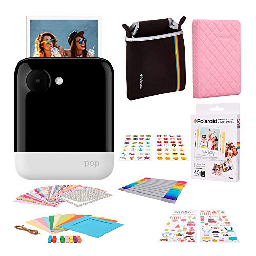 Polaroid Pop 2.0 Portable Instant Digital Camera -White with 3.5 x 4.25 inch Photoprint Paper (40 Sheets), Camera Case, ZINK Paper Unique Colorful Stickers & Photo Album Accessories