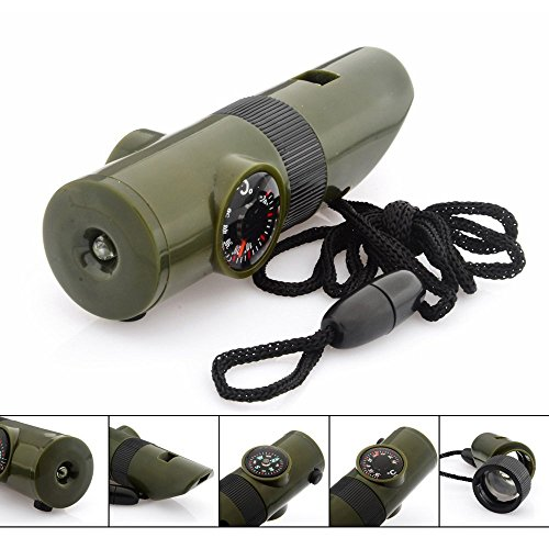 7 in 1 Emergency Survival Whistle Multi function Tool, Magnifier, Flashlight, Storage Container, Compass, Thermometer, Signaling Mirror, Great for Camping, Hiking, Hunting, Fishing, Outdoor Activities, Travel, Emergency and Survival kits, Color Army Green