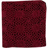 Burgundy Knitted Floral Hand Crafted Throw Blanket 50'' x 60''