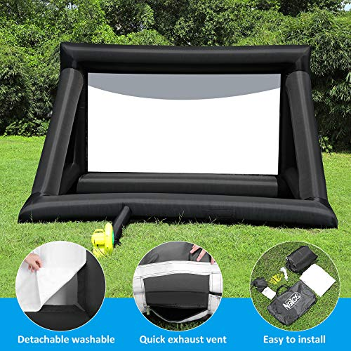 Naice 20 Feet Inflatable Movie Projector Screen Outdoor and Indoor Home Theater Thickened Projection Screen Portable for Party Camping Games Watching