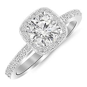 0.75 Carat t.w. Round Classic Halo Style Cushion Shape Diamond Engagement Ring H I I2 Clarity Center Stones.