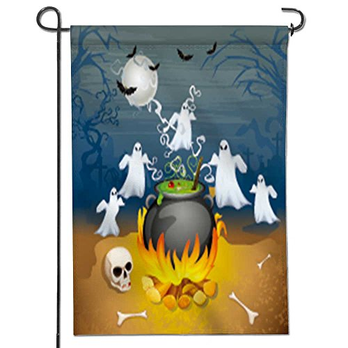 aolankaili Garden Flag Illustration of Ghost from Cauldron in Halloween Background Home Sweet Home Double Sided Decorative Flags for Outdoors 12