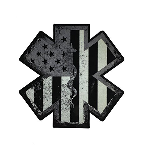 Thin Subdued EMS EMT Paramedic American Flag Star of Life Reflective 3.5 X 3.5 Decal Sticker United States Tactical Police Law Enforcement
