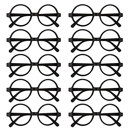 Kicosy 10 Pieces Glasses Frame Black Children Retro Round Glasses Frame Kids Plastic Wizard Glasses Frame No Lenses for Boy or Girls Dress Up and Pretend Play by Kicosy