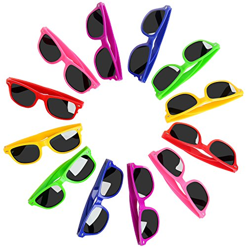 Party Favors for Kids Sunglasses in Bulk with UV400 Eye Protection, 12 Pack Neon Sunglasses for kids, Teens, Boys and Girls, Fun Gifts, Goody Bag Fillers